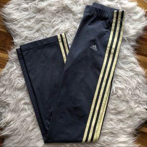 Adidas climalite gray yellow striped leggings